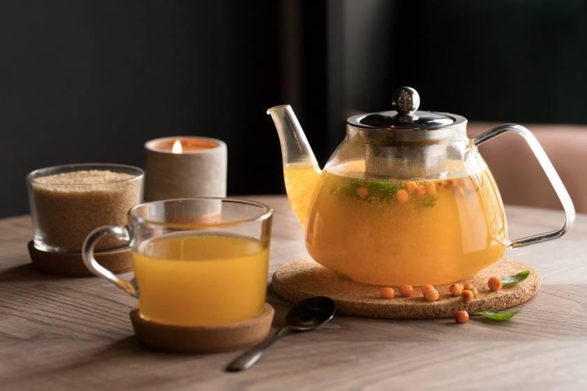 чай с замороженной облепихой